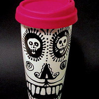 Dali' Dracula Skull Travel Mug with Silicone Lid & Sleeve and Extra Colorful Lid