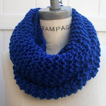 Royal Blue Scarf Women Scarves FREE SHIPPING Hand Knit Infinity Scarfs0 Winter fashion -  by PIYOYO