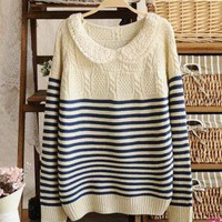Peter Pan Lace Collar Striped Sweater