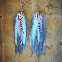 SALE - 15% OFF the ENTIRE shop : Carnival Candy Feather Earrings