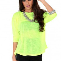 Missguided - Saheli Neon Oversized Jumper In Yellow