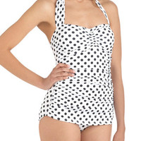 Esther Williams Beach Blanket Bingo One Piece in White | Mod Retro Vintage Bathing Suits | ModCloth.com