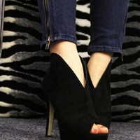 OASAP - V-vamp Peep Toe High Heels - Street Fashion Store