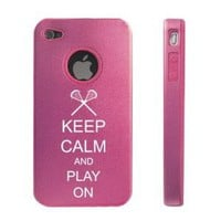 Amazon.com: Apple iPhone 4 4S 4 Pink D2647 Aluminum &amp; Silicone Case Cover Keep Calm and Play On Lacrosse: Cell Phones &amp; Accessories