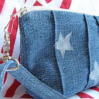 Pencil Pouch Blue Denim White Stars Wristlet Tool Pouch Clutch