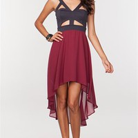 A&#x27;GACI CUT-OUT HI-LOW 2-FER DRESS - DRESSES