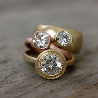 Moissanite and 14k Yellow Gold Engagement Ring by onegarnetgirl