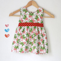 Christmas dress candy cane white, red and green - girls dress - toddler dress - Can