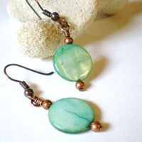 Aqua Green Shell Discs and Copper Accents Earrings