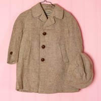 1950's Kids Tan Wool Matching Coat & Hat - M 50's vintage clothing for kids ,babies, children, boys & girls