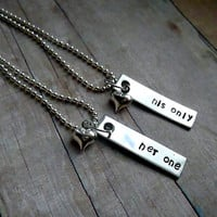 Her one - His Only Hand Stamped stainless steel couples necklaces his and hers necklace  set