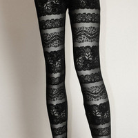 Lace Stripe Leggings Black | Late Manta