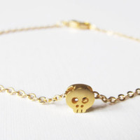 Sale 10% - Gold Skull Bracelet, 16kt Gold Plated Bracelet, Gift for Her, Item B-72G