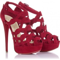 Christian Louboutin Red Larissa Plato 150 Suede Sandals Black ca - $171.00