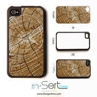 NEW Cracked Wood 3 n-Sert iPhone 4, 4s, 5 Case with Changeable Inserts