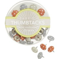 Forest Mushroom Thumbtacks Set of 25 in Christmas Favorites | Crate and Barrel