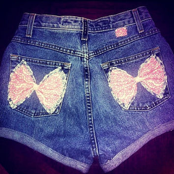 High Waisted Denim Shorts with Pink Bow Pockets