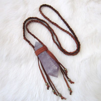 BLACK FRIDAY. Amethyst Leather Fringe Necklace. Braided Leather Necklace. Large Amethyst Pendant.