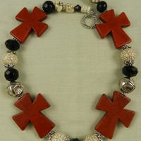 Handmade Chunky Magnesite Cross Red Black White Neckalce