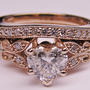 Engagement Ring - Heart Shape Diamond Butterfly Vintage Engagement Ring setting & Matching Wedding Band 0.16 tcw. In Rose Gold - ES334HSBSPG