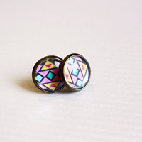 tribal stud earrings - bohemian geometric - pink