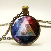 Galaxy Triangle Necklace Hipster Nebula Jewelry Universe Pendant
