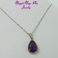 African Dark Purple Amethyst 10ct Pear Shape Diamond Jewelry Necklace