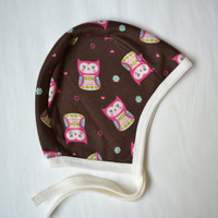Owl baby hat. - PICK any SIZE- Pick what color trim -  Pilot hat with ties.    (Made by lippy brand)