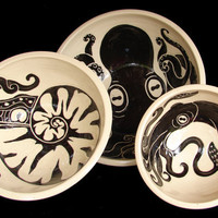 Cephalopod Nesting Bowl Set Octopus Nautilus Squid by rhoneypots