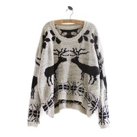 Winter Asymmetric Woolen Reindeer Pattern Sweater Ivory/Grey Black