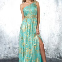 Shimmer by Bari Jay 59625 Seafoam One Shoulder Prom Dresses