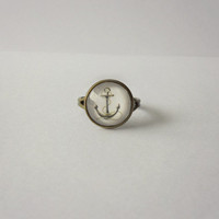 Nautical Anchor Ring - Glass Cabochon Ring on Antique Bronze - Vintage Style Jewelry, Glass Cabochon Jewelry