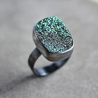 Green Druzy Ring, Lime Green Druzy Oxidized Sterling Silver Ring - Made to Order - Peacock