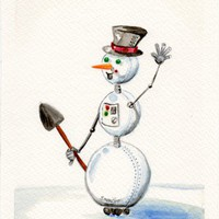 SnowBot original holiday watercolor snowman robot