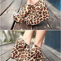 Fish-Mouth Leopard Grain Girls Wedges Shoes : Wholesaleclothing4u.com