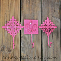 Metal Wall Hook /Bright Pink fleur de lis /Ornate Hanger /Key Holder /Bathroom Fixture /Bedroom /Nursery