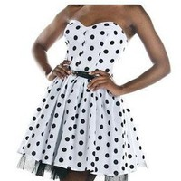 Style Icon's Closet 50s style Vintage Inspired Pin-Up African Print Retro Rockabilly Clothing — Black & White Polka Dot Mini Party Dress