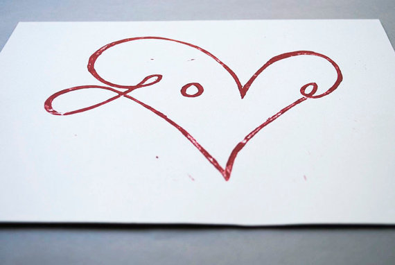 Red Heart Linocut Print 8x10 inch Love Block Print by CursiveArts
