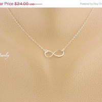 cyber Monday Etsy Infinity Necklace, Charm Necklace, Eternity, Sterling Silver, Pendant, Sister Necklace, Bridesmaid Gifts, Best Friend Jew