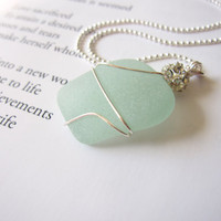 Seafoam seaglass necklace - Bride's Necklace for beach Wedding - Perfect nautical gift for girlfriends, sisters, bride - FREE SHIPPING