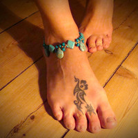 Deep sky blue Hippie macrame Anklet with Howlite beads Boho beaded ankle bracelet Turquoise