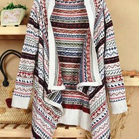 OASAP - Colored Stripe Print Long Sleeve Cardigan - Street Fashion Store
