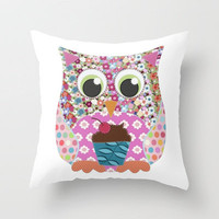 Appliqu Patch Owl Throw Pillow by Sharon Turner | Society6