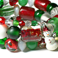 Bracelet Beaded Memory Wire Christmas