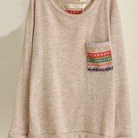 Print Pocket Long Sleeve Knit Top by Shinning