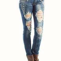 embellished-destroyed-jeans BLUE - GoJane.com