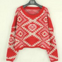 Geometric pattern round neck Bat-sleeved sweater - Designer Shoes|Bqueenshoes.com