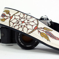 Camera Strap, Hand painted Dream Catcher No.5, Dreamcatcher, Feathers, dSLR or SLR