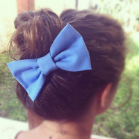 BIG Blue bow hair bow