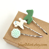 Cute animal bobby pins, poodle, horse, flower hair pins, christmas gifts, green, mint, pet